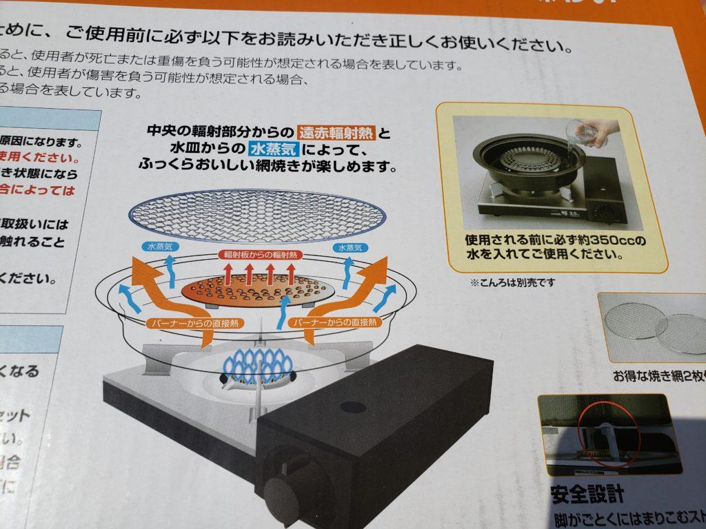 イワタニカセットコンロ用網焼きプレートの説明図